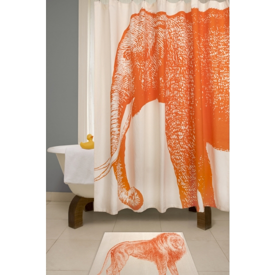 Elephant shower curtain bevanddara for Really cool shower curtains
